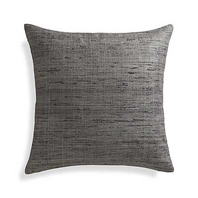 """Trevino Nickel Grey 20""""l Pillow with Feather-Down Insert - Crate and Barrel"""