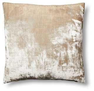 Washed-Silk Velvet 22x22 Pillow, Natural - Feather down insert - One Kings Lane
