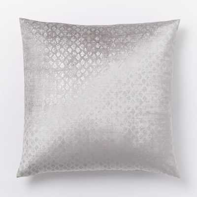 Diamond Luster Velvet Pillow Cover, Silver - 20x20 -  Insert Sold Separately - West Elm