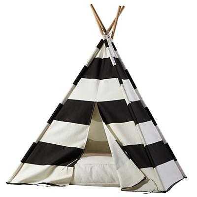 Black Stripe Teepee and Cushion Set - Land of Nod