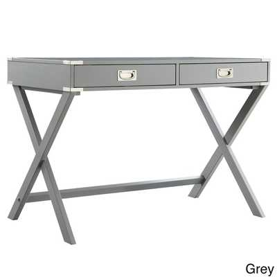 INSPIRE Q Kenton X Base Wood Accent Campaign Writing Desk - Grey - Overstock