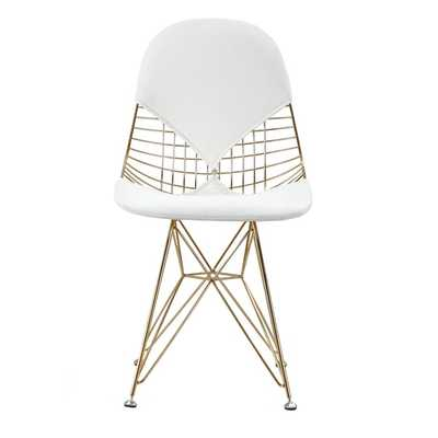 GLAM Eiffel Mid-century Style Chair In Gold and White Vegan Leather (Set Of Two) - Overstock