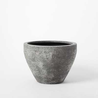 "Textured Stone Planter,Gray-Short Wide (22"" Diameter) - West Elm"