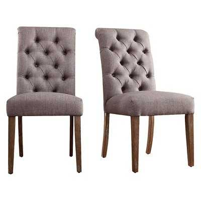 Inspire Q Gramercy Button Tufted Dining Chair - Smoke (Set of 2) - Target