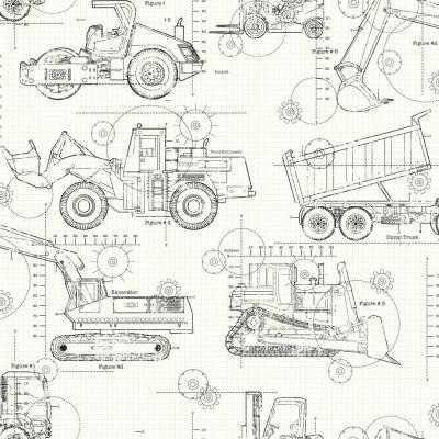 56 sq. ft. Cool Kids Construction Blueprint Wallpaper - Home Depot
