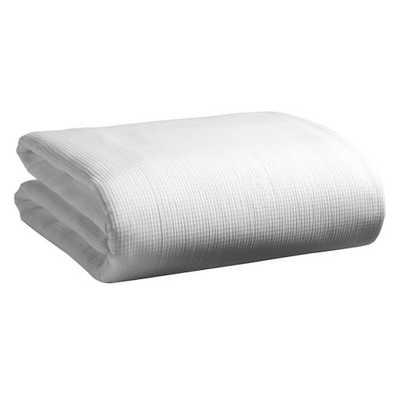 Organic Plissé Blanket - Full/Queen, White - West Elm