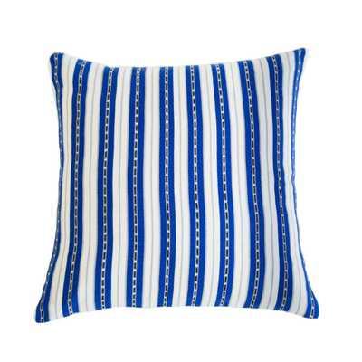 "San Juan Stripe Blue Pillow with Insert - 18"" x 18"" - Domino"