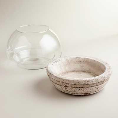 "Round Glass and Cement Terrarium 8"" - World Market/Cost Plus"