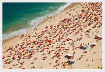 """Aerial view of Leblon Beach in Rio de Janeiro. - 38"""" x 26"""" - White floater frame - No mat - Photos.com by Getty Images"""