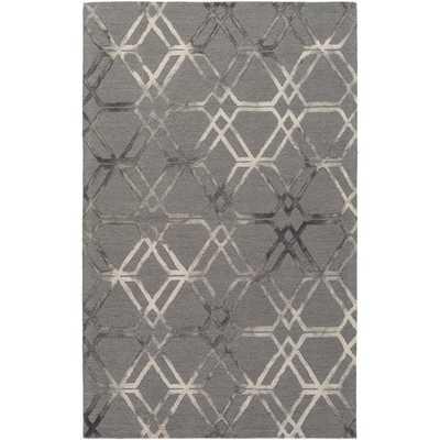 Hand Hooked Calle Wool Rug - Charcoal Grey - Overstock