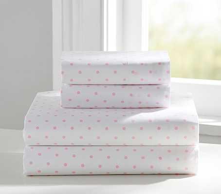 Organic Pin Dot Sheet Set - Twin - Pink dots - Pottery Barn Kids