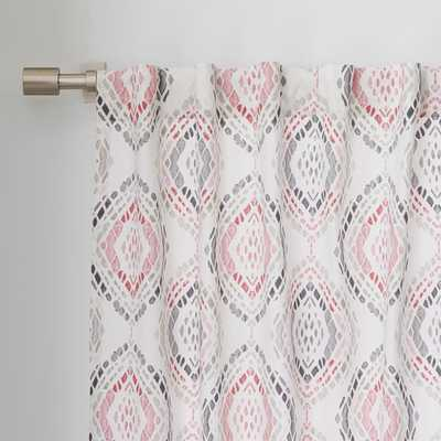 "Cotton Canvas Mosaic Medallion Curtain - Rose Bisque 96"" - West Elm"
