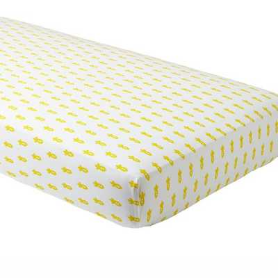 Yellow Rocket Little Prints Crib Fitted Sheet - Land of Nod