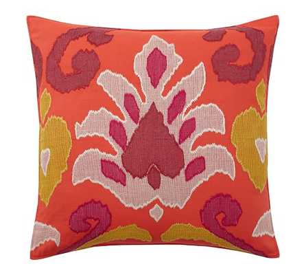 "ELIN IKAT APPLIQUE PILLOW COVER- 24"" sq- Warm multi-  Insert; sold separately. - Pottery Barn"