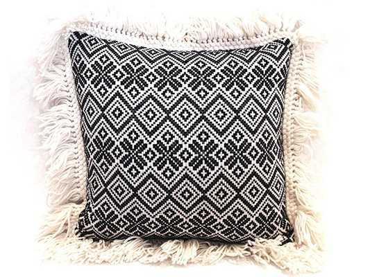 Nomad Zig Zag Woven Pillow - Domino