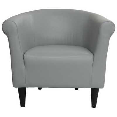 Savannah Faux Leather Club Chair - Gray - AllModern