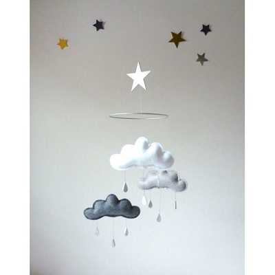 White ,Grey and Charcoal cloud mobile - Etsy