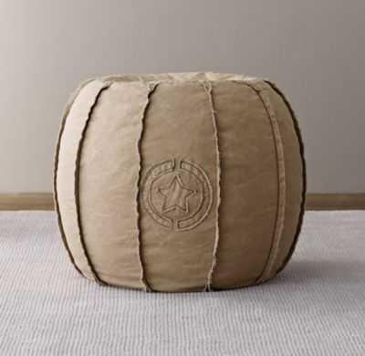 Distressed canvas round pouf - RH Baby & Child