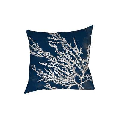 Coastal Coral Printed Throw Pillow, 18''SQ./Insert inlcuded - Wayfair