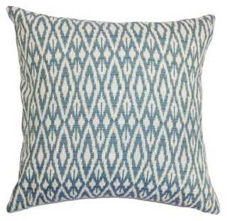 Hafoca 18x18 Cotton Pillow, Denim - Down/feather insert - One Kings Lane