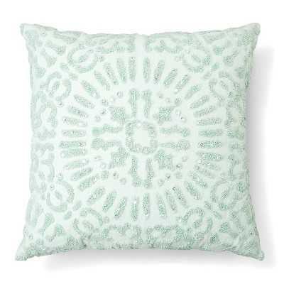 """Embellished Medallion Decorative Pillow Square Mint Ash - 18''x 18""""-Insert included - Target"""
