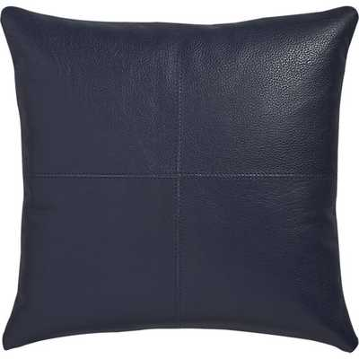 """Mac leather 16"""" pillow with down-alternative insert - Navy - CB2"""