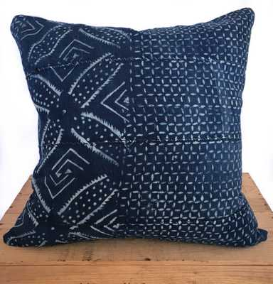 "Vintage Indigo African Pillow Cover - 18"" x 18"" - Insert Sold Separately - Etsy"