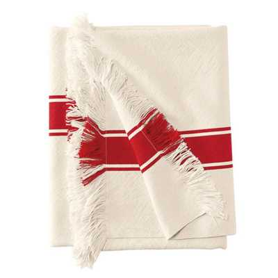 Fringed Stripe Throw - Tomato - Domino