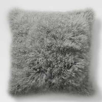 "Mongolian Lamb Pillow Cover - Platinum (24"" Sq.)- Insert Sold Separately - West Elm"