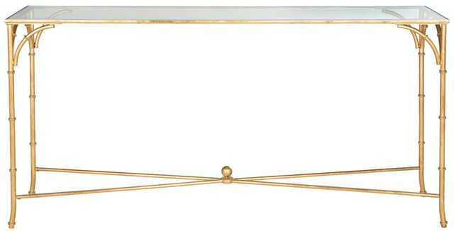Maurice Console, Gold/Tempered Glass Top - Tressle