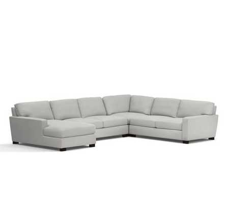 Turner Square Arm Upholstered 4-Piece Right Chaise Sectional - Pottery Barn