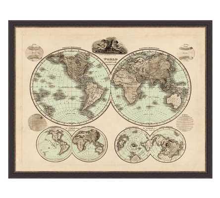 GLOBAL MAP FRAMED PRINT - Pottery Barn