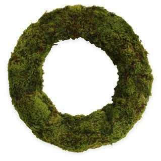 "18"" Mood Moss Wreath, Dried - One Kings Lane"