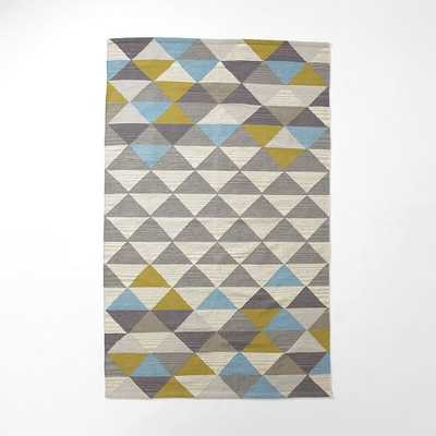 Mosaic Triangles Wool Dhurrie - Wave - West Elm