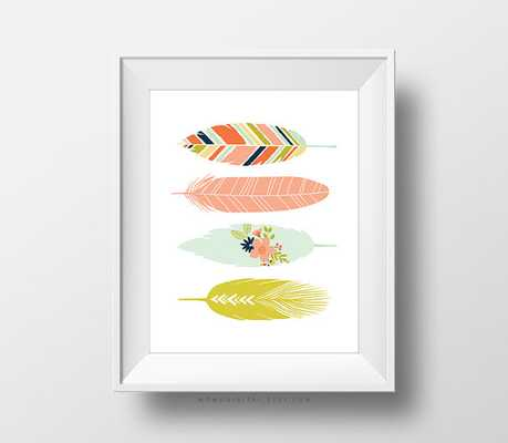 Floral Feathers Art Print - 8x10 - not framed - Etsy