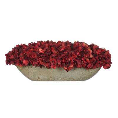 Artificial Hydrangea in Oval Ceramic Pot - Burgundy - Wayfair