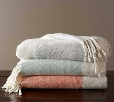 Faux Mohair Colorblock Throw, CANYON SUNSET - Pottery Barn