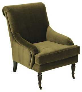 Oxford Velvet Chair, Hunter Green - One Kings Lane