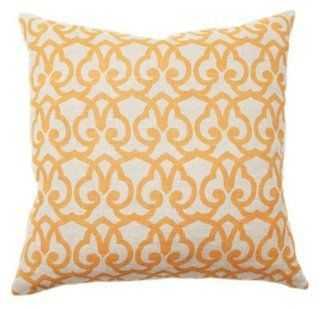 Trellis 22x22 Cotton Pillow, Gold - One Kings Lane