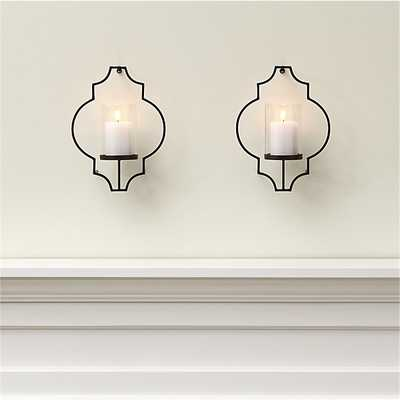 Set of 2 Rosaline Metal Wall Candle Holders - Crate and Barrel