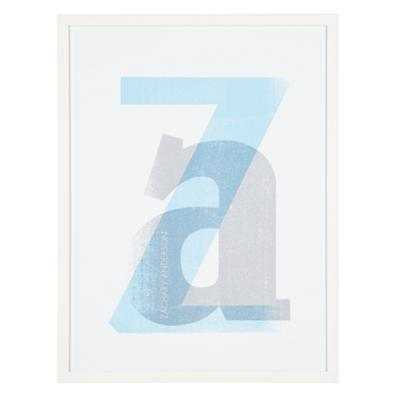 Personalized Stacked Initial Wall Art (Blue) - Land of Nod