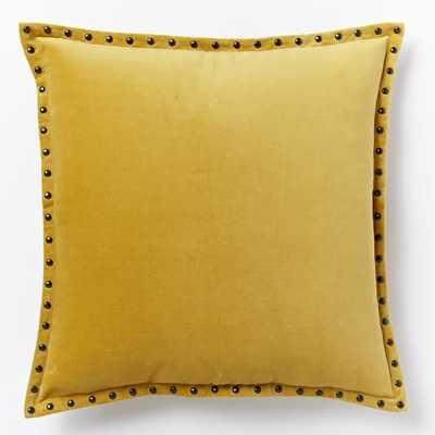 """Studded Velvet Pillow Cover - Horseradish - 20""""Sq - Insert sold separately - West Elm"""