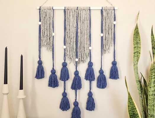 Tassel Wall Hanging - Blue - Etsy