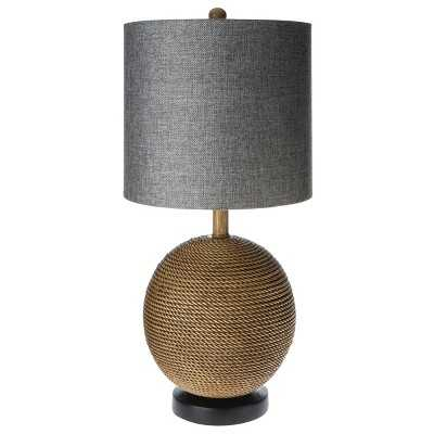 "Mudhutâ""¢ Rope Textured Sphere Table Lamp with Gray Linen Shade - Target"