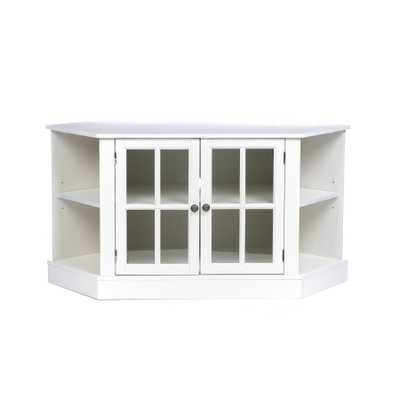 Upton Home Crescent White Corner Media Stand - Overstock