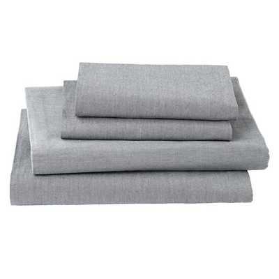 Twin Grey Chambray Sheet Set - Land of Nod