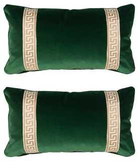 S/2 Robertson 12x23 Pillows, Emerald-Insert included - One Kings Lane