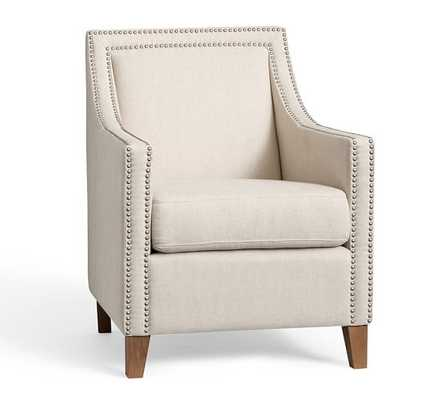 EVERLY UPHOLSTERED ARMCHAIR - Linen Blend, Gunmetal Gray - Pottery Barn