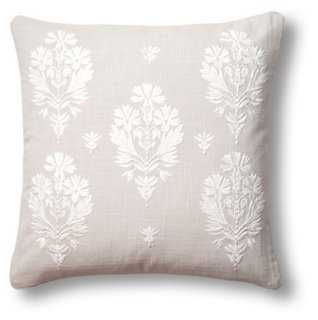 Flora 18x18 Pillow, Gray- Feather/down insert - One Kings Lane