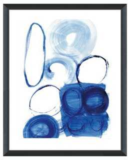 "Blue Abstract Print I - 26""L x 32""H - Framed - One Kings Lane"